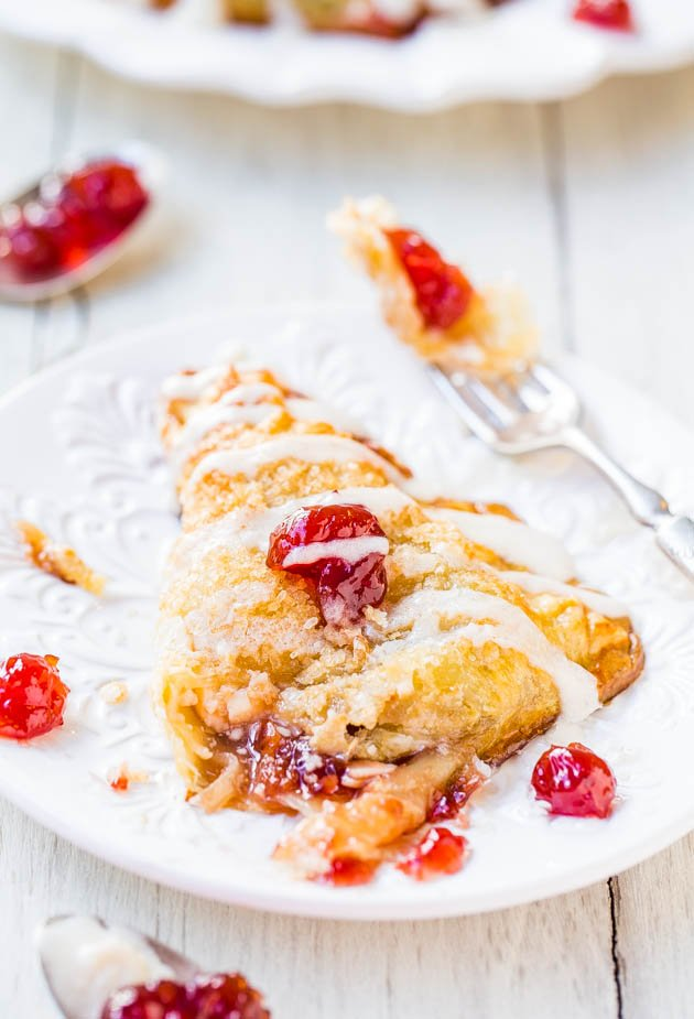 Cherry & Cream Cheese Turnovers w/ Vanilla Cream Cheese Glaze - Bakery-quality turnovers at home in 20 minutes! So easy & super good!
