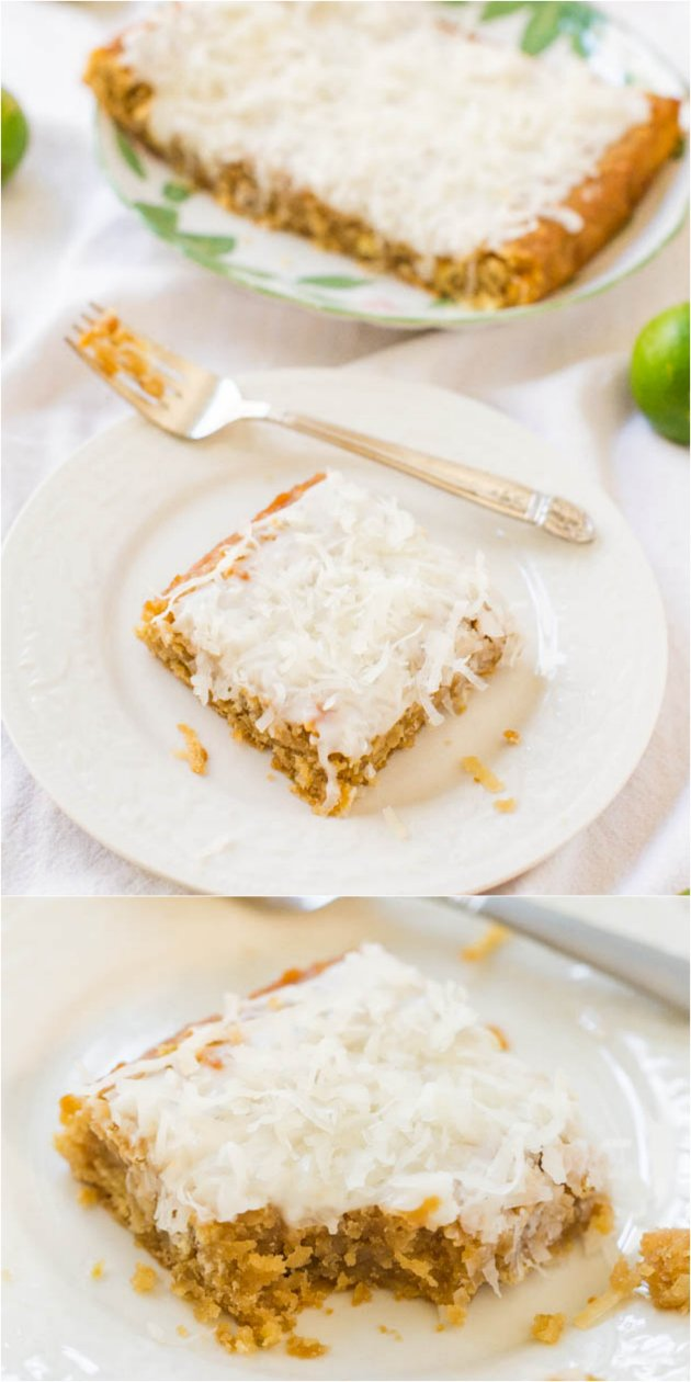 Coconut Lime White Chocolate Bars - Soft, easy bars that will make you feel like you're on a tropical vacation!