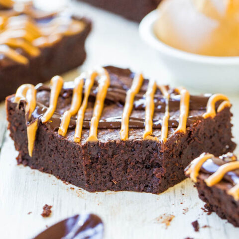 Flourless Peanut Butter and Chocolate Fudgy Brownies