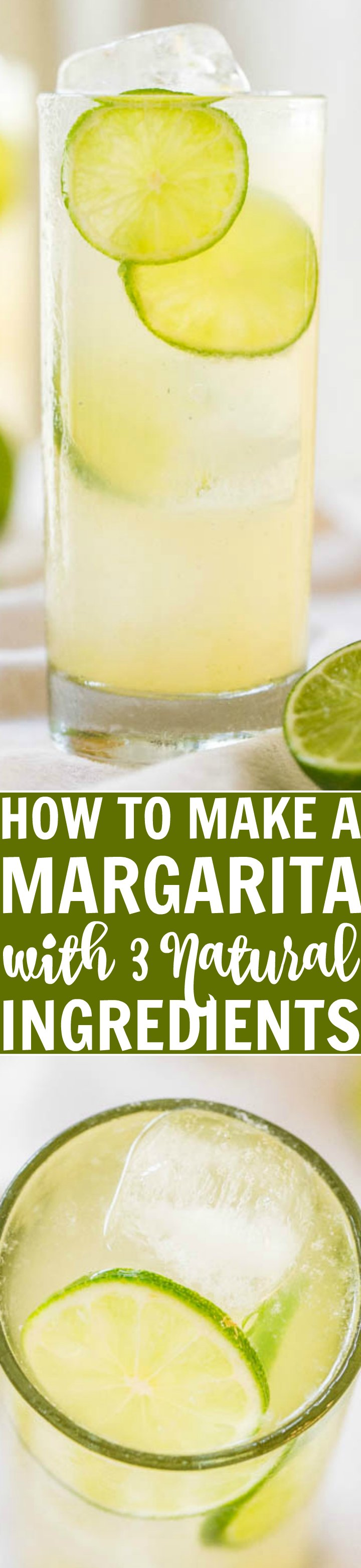 How to make a margarita with just three natural ingredients!! Nothing fake, neon green, and no sugary chemicals! This is the best homemade margarita recipe I've tried and it's the easiest!!