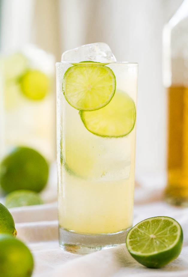 Homemade margarita made with tequila, agave, and lime juice