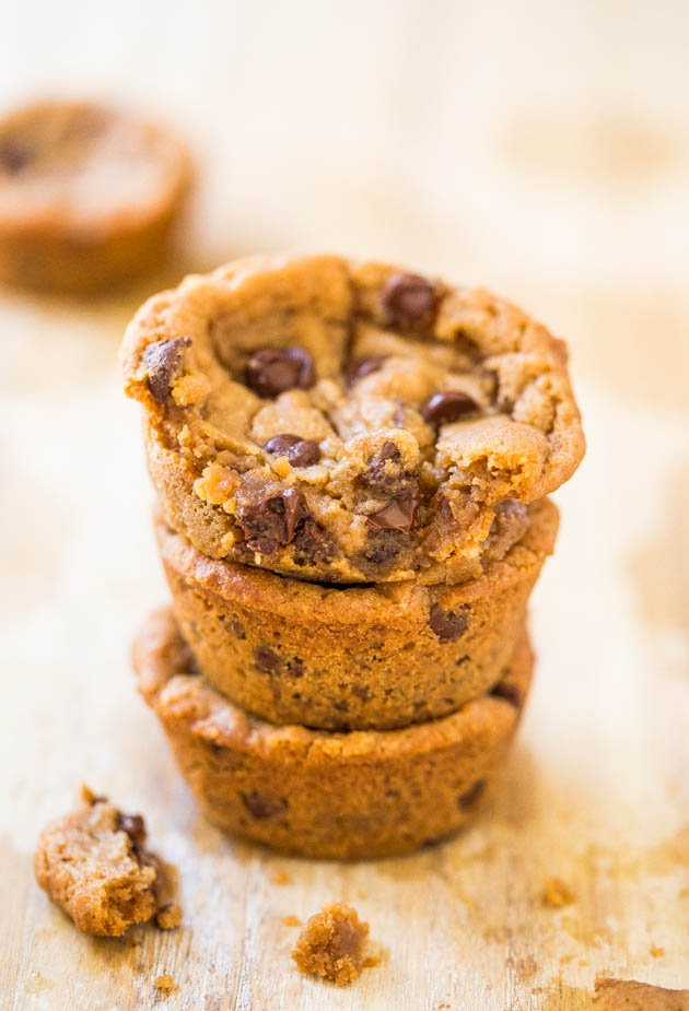 Peanut Butter Chocolate Chip Cookie Cups - Supremely soft cookies & impossible to spread or goof up! Ready in 20 mins!