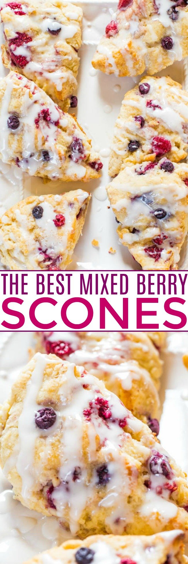The Best Scone Recipe — These homemade scones are incredibly EASY, NOT DRY, you don't need to dirty a mixer, and are guaranteed-to-disappear weekend breakfast or brunch!! Made with common pantry ingredients and you can use frozen fruit!!