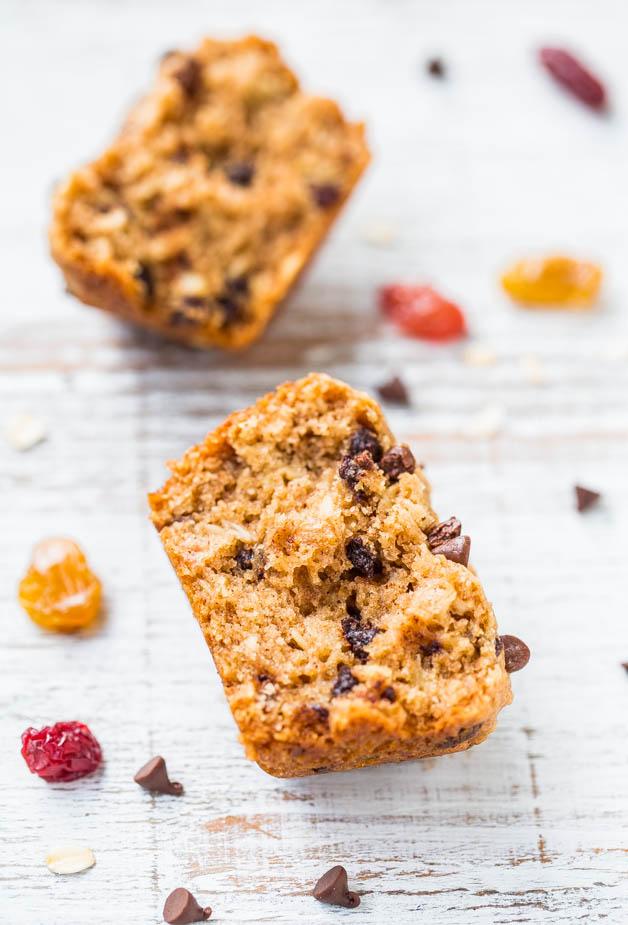 Vegan Oatmeal Chocolate Chip Trail Mix Muffins split in half