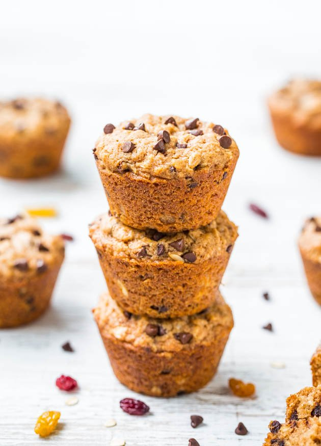 Oatmeal & Chocolate Chip Trail Mix Vegan Muffins - Fast, easy, healthy & made with your favorite trail mix ingredients!