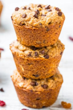 Oatmeal and Chocolate Chip Trail Mix Vegan Muffins