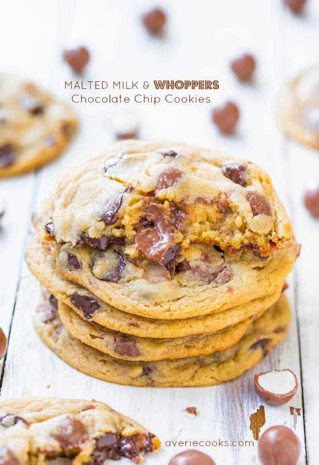 Malted Milk & Whoppers Chocolate Chip Cookies - Soft & chewy cookies loaded with Whoppers make you feel like a kid again!