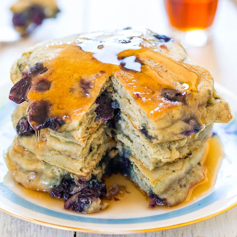 Dairy-Free Soft and Fluffy Blueberry Pancakes - Averie Cooks