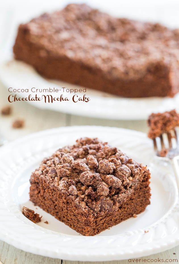 Cocoa Crumble-Topped Chocolate Mocha Cake - It's hard to resist picking those big cocoa crumbles right off this super soft & easy cake!