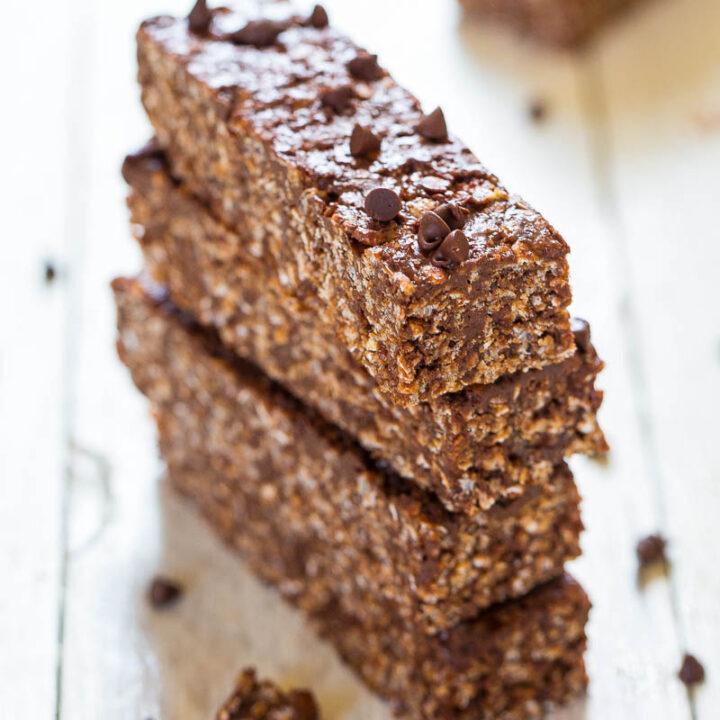 No-Bake Double Chocolate Peanut Butter Granola Bars
