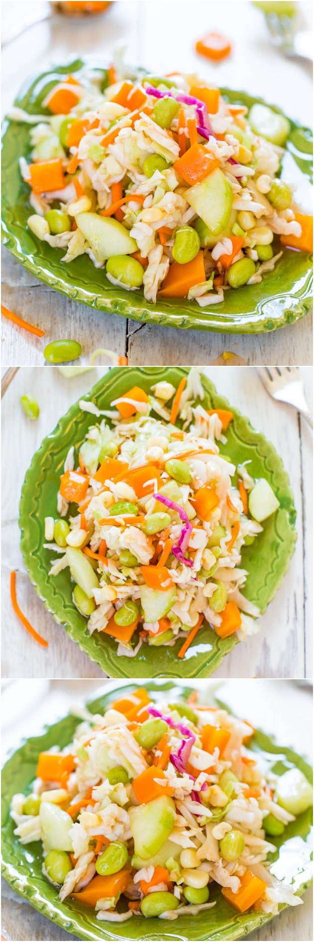 Skinny Mayo-Less Cabbage Salad (vegan, GF) - This healthy cabbage salad/coleslaw isn't coated with gobs of mayo & you won't miss it!