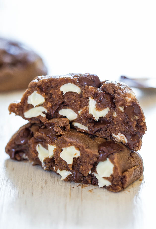 Soft & Chewy Nutella White Chocolate Chip Cookies - Thick, rich, chocolaty cookies that are so soft you won't be able to resist them!