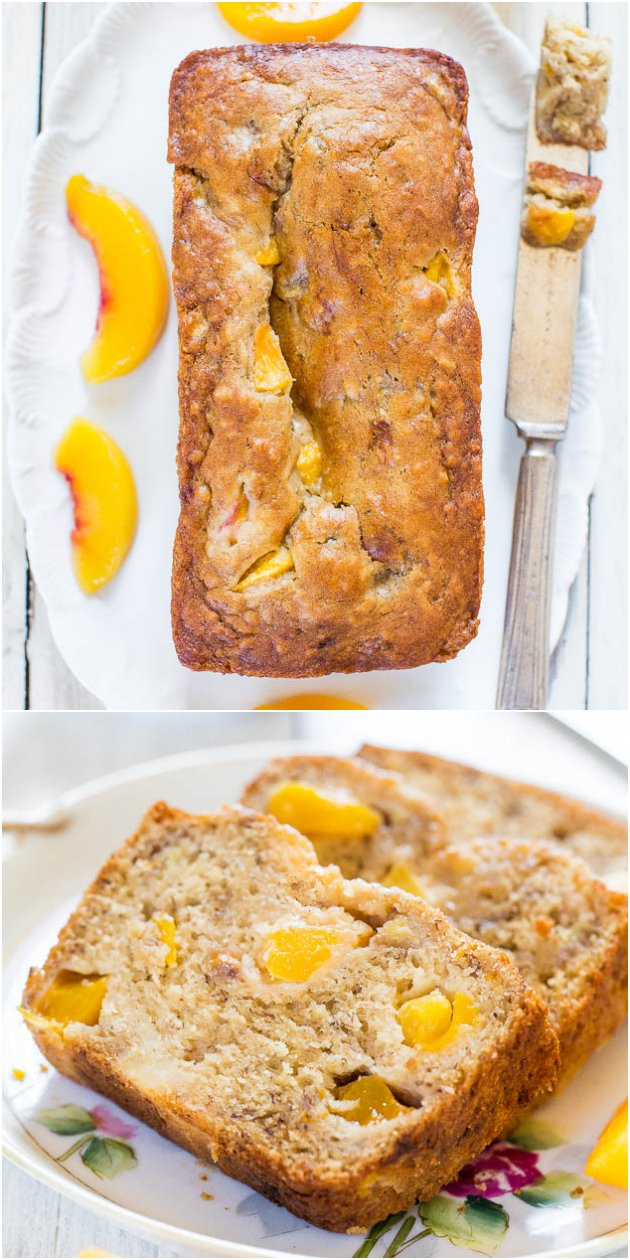 Peach Mango Coconut Oil Banana Bread - The softest, moistest banana bread that tastes like a tropical vacation! A new favorite!