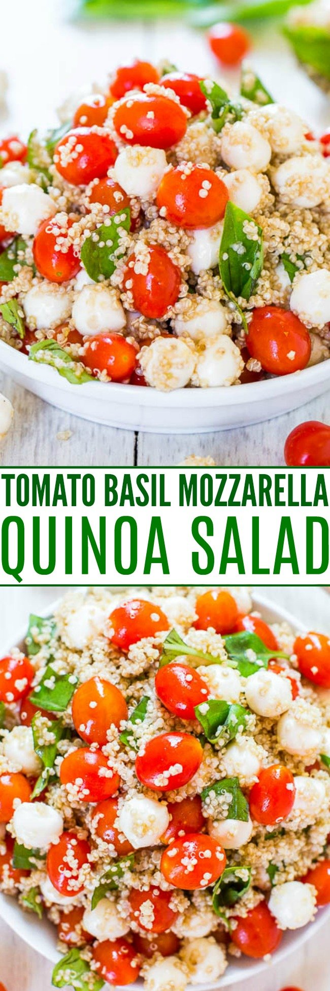 Tomato Mozzarella Salad with Basil and Quinoa — This cold quinoa salad is packed with fresh Italian flavors. You can easily mix and match the ingredients to use up any fresh produce you have on hand.