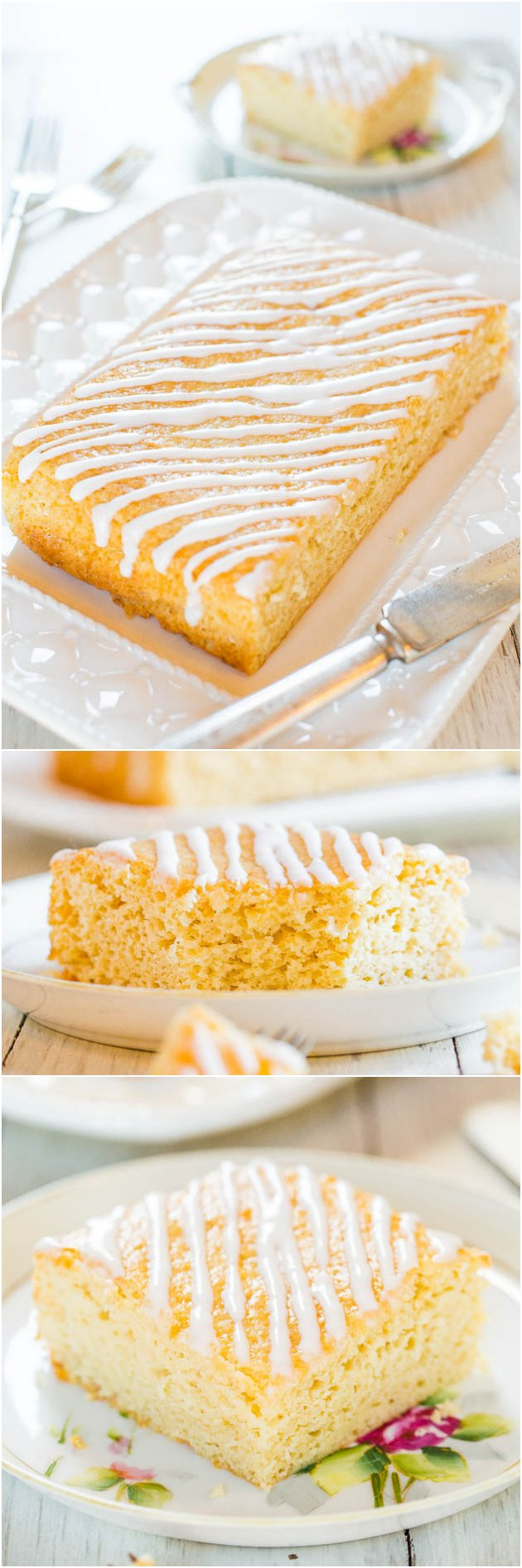 Sweet Cream Vanilla Coffee Cake - You'll never guess what special ingredient keeps this fast & easy cake so soft and moist!