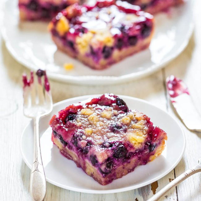Blueberry Pie Bars with fork and knife