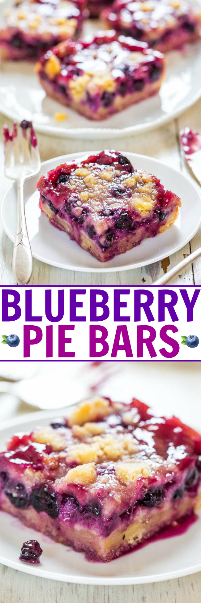 Blueberry Pie Bars - These pie bars are one of my all-time favorite (frozen) blueberry recipes! They have the flavors you love in a blueberry pie, but you don't have to mess around with homemade pie crust. If desired, you can easily make these with fresh blueberries instead of frozen!