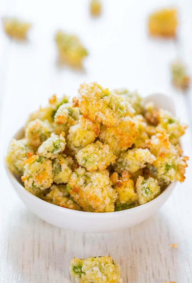 Baked Parmesan Edamame Bites with Creamy Wasabi Dip -The ultimate in mini comfort food! You'll want to inhale the whole batch!