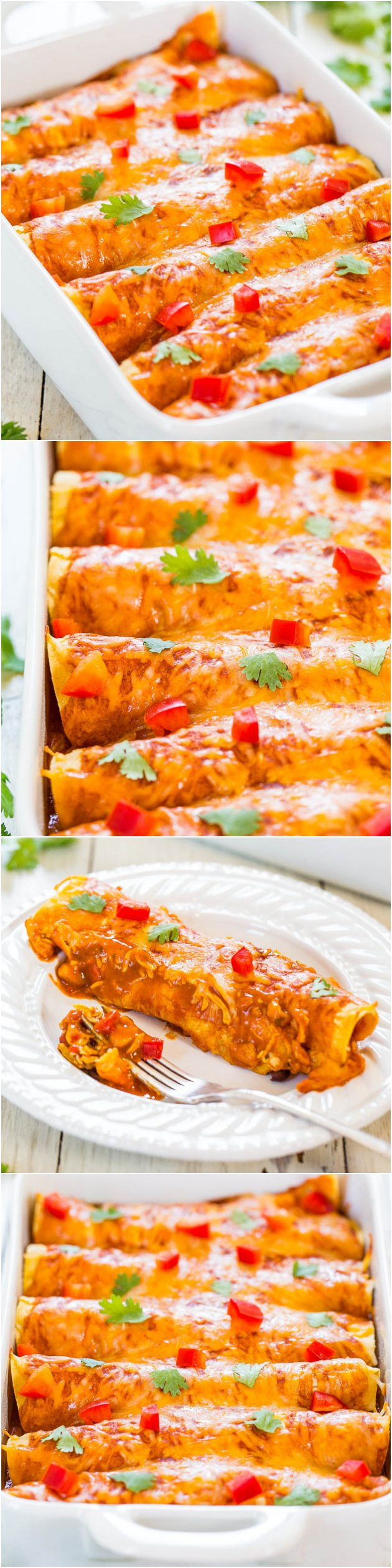 Vegetarian Sweet Potato Black Bean Enchiladas — Warm sweet potatoes, slightly spicy corn and beans, all smothered in cheese and red sauce. They're satisfying, hearty, and you'll never miss the meat!