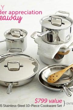 10-Piece All-Clad Stainless Steel Cookware Set Giveaway ($799 Value)