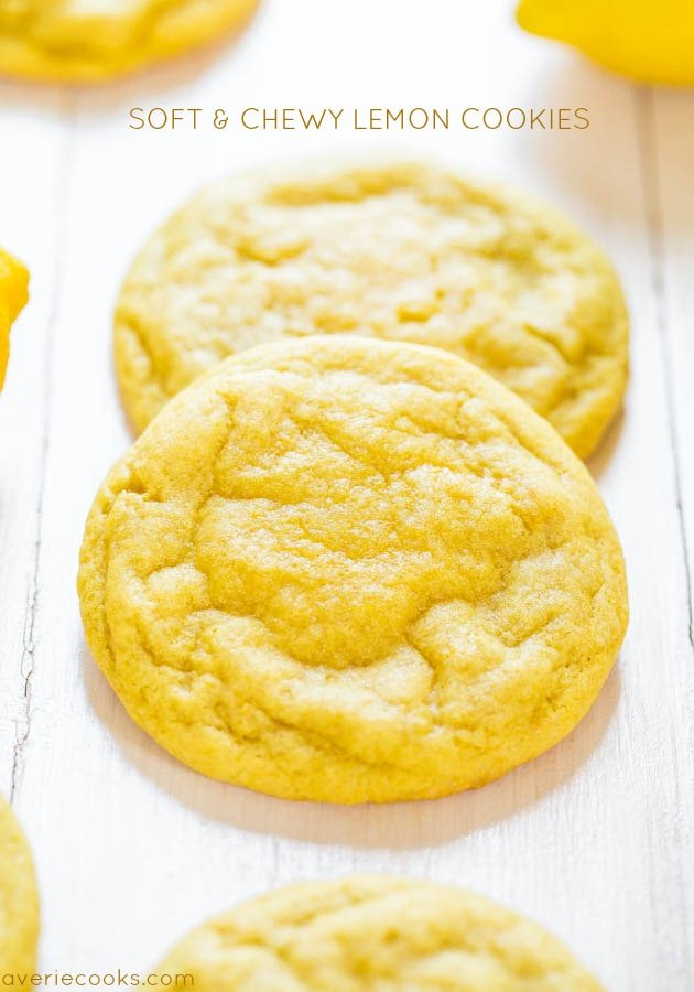 Soft and Chewy Lemon Cookies - They pack a powerful lemon punch, they're soft and dense rather than cakey, and they're thick enough to sink your teeth into!