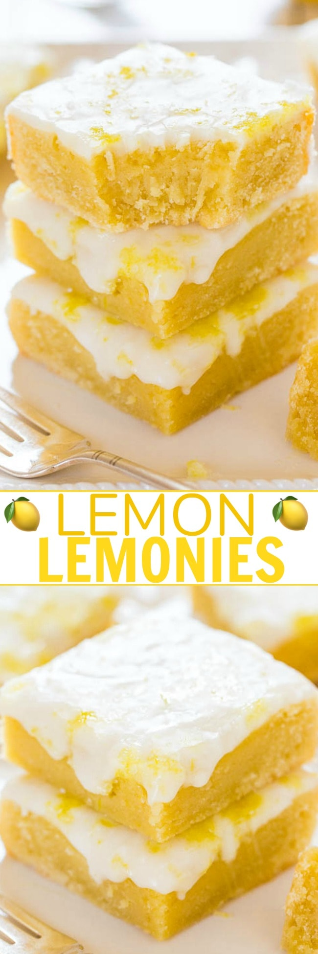 Lemon Lemonies — Like lemon brownies, but made with lemon and white chocolate!! Dense, chewy, not cakey and packed with big, bold lemon flavor! Always a crowd FAVORITE!!