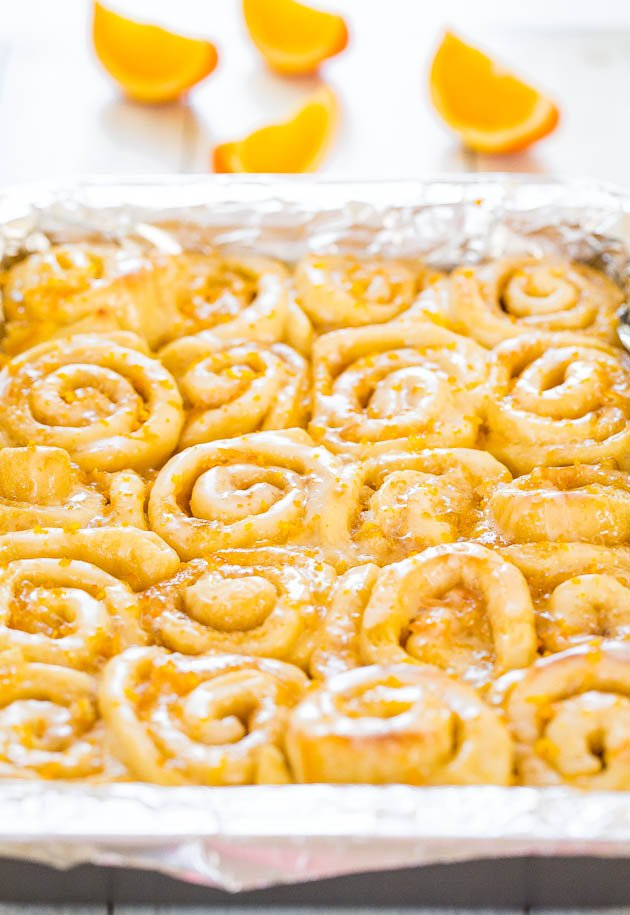 pan of Glazed Orange Cinnamon Rolls