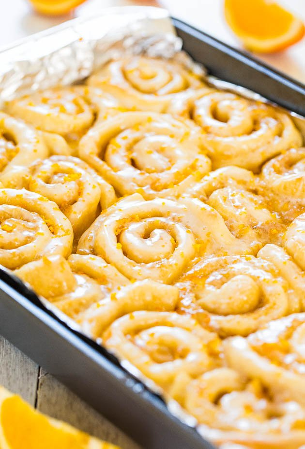 pan of Glazed Orange Rolls