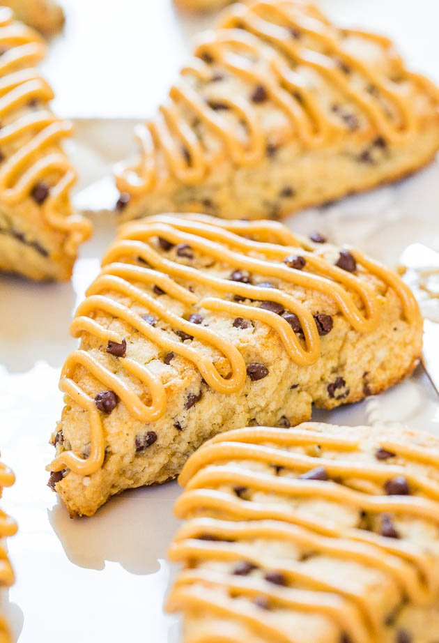 Peanut Butter Chocolate Chip Scones - Easy scones that are moist, full of flavor & loaded with chocolate chips! (and not dry!)