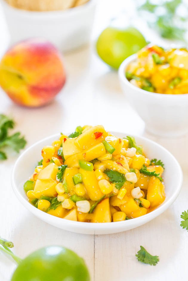 The Best Peach Mango Salsa (vegan, GF) - Fast, easy, and tastes a million times better than anything storebought! So.darn.good!!