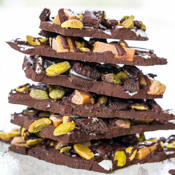 Pistachio, Salted Caramel, and Oreo Dark Chocolate Bark