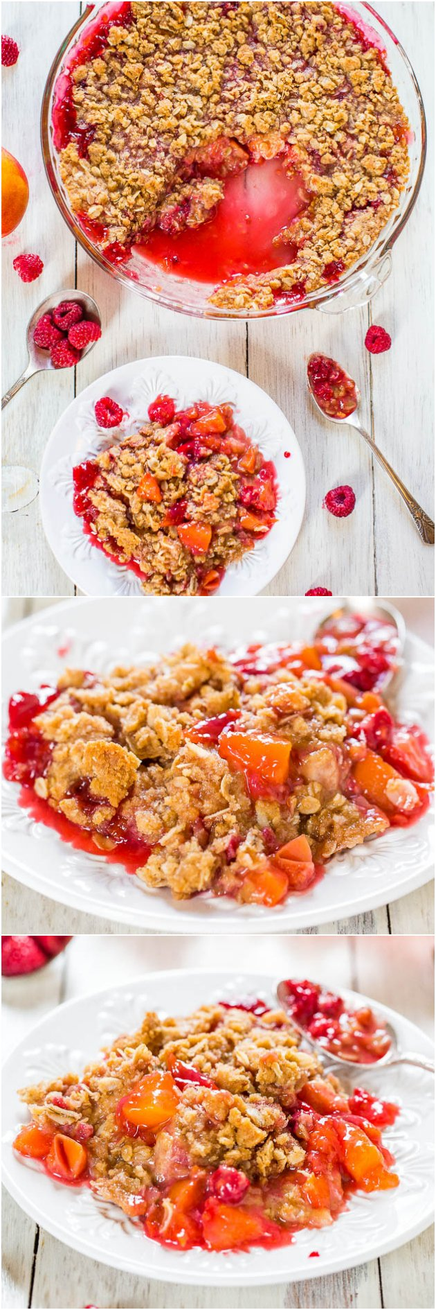 Raspberry Peach Crisp - Plump raspberries, juicy peaches & a crunchy oat topping make this healthier summer treat totally irresistible!