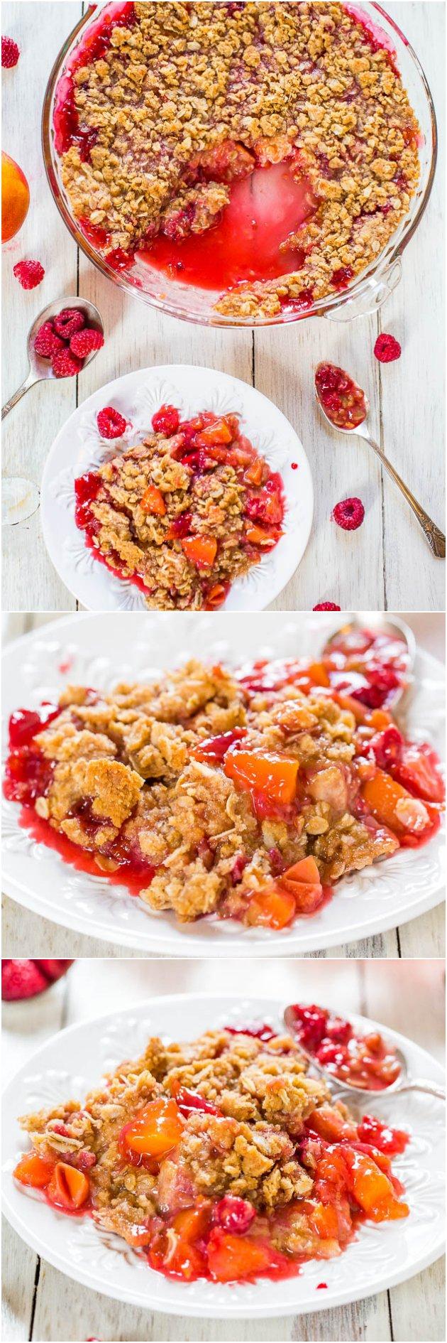 3 picture raspberry peach crisp collage