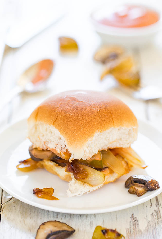 Caramelized Onion and Portobello Mushroom Sliders with Fry Sauce - Meatless comfort food at its finest! Hearty, satisfying and so good!