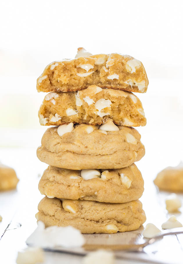 stack of Cream Cheese White Chocolate Chip Cookies