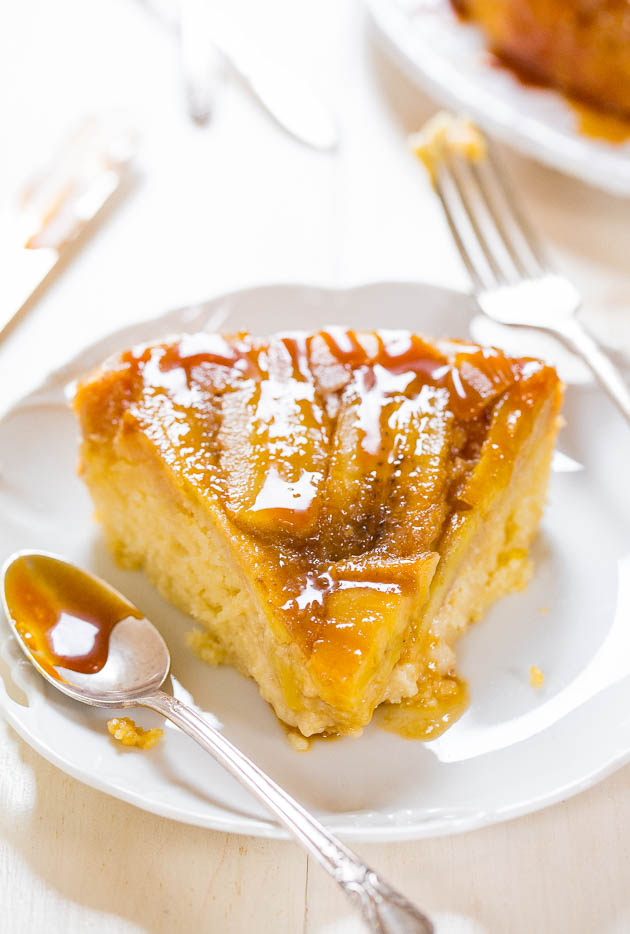 slice of Caramelized Banana Upside-Down Cake topped with caramel sauce