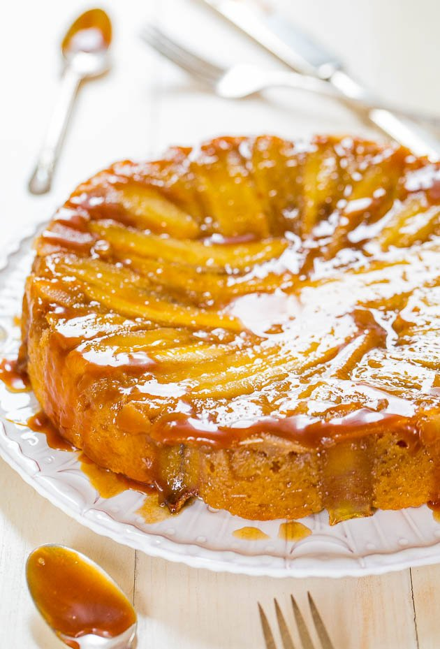 Caramelized Banana Upside-Down Cake on white platter
