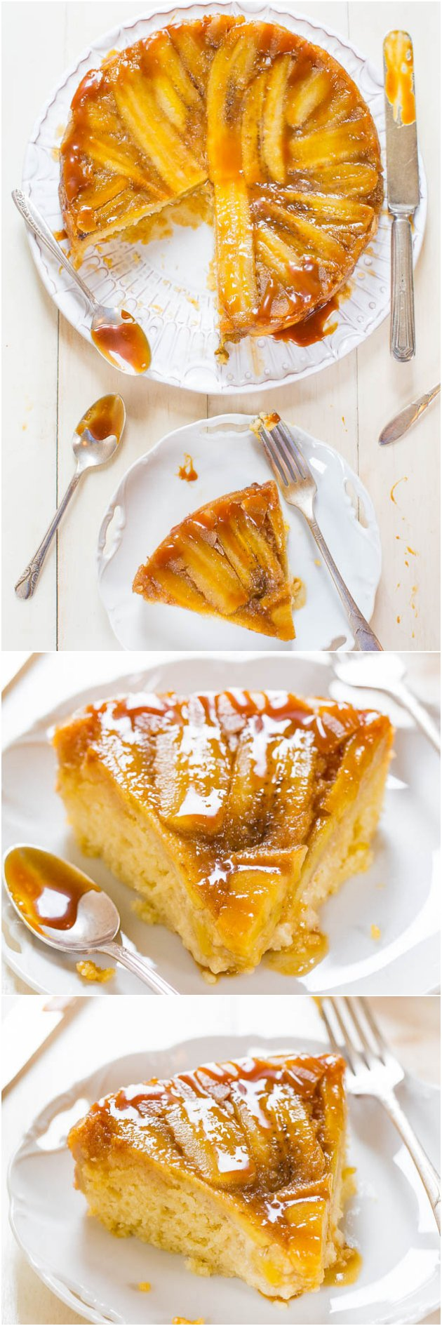 This banana upside down cake is super moist thanks to the combo of sour cream, buttermilk, and vegetable oil. That caramelized banana flavor is so good! #upsidedowncake #cakerecipe #cakes #bananacake #bananas