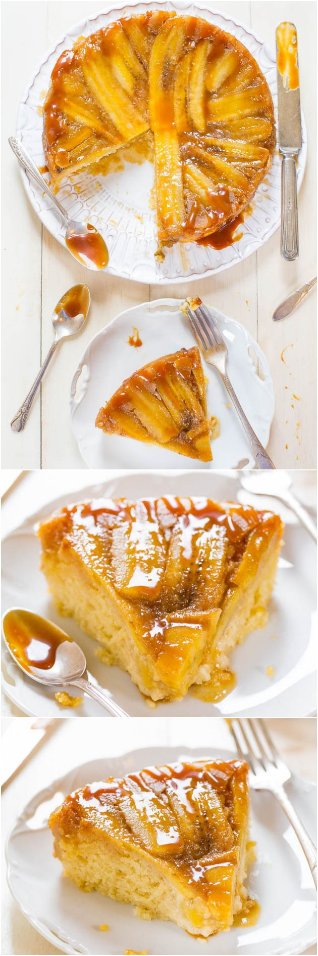 Four picture collage of banana upside down cake