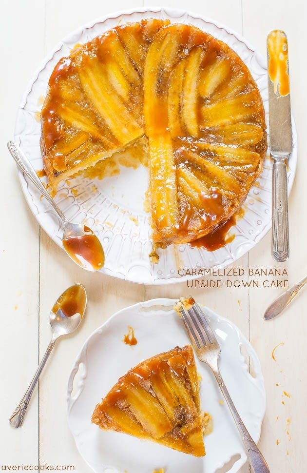CCaramelized Banana Upside-Down Cake - Have ripe bananas? This cake has their name all over it! Dripping with rich, buttery, caramel sauce!