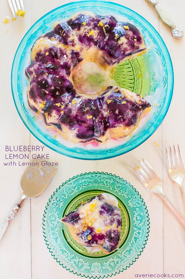 Blueberry Lemon Cake with Lemon Glaze - Almost more berries than cake in this soft, fluffy cake! The lemon glaze is plate-licking delish!!