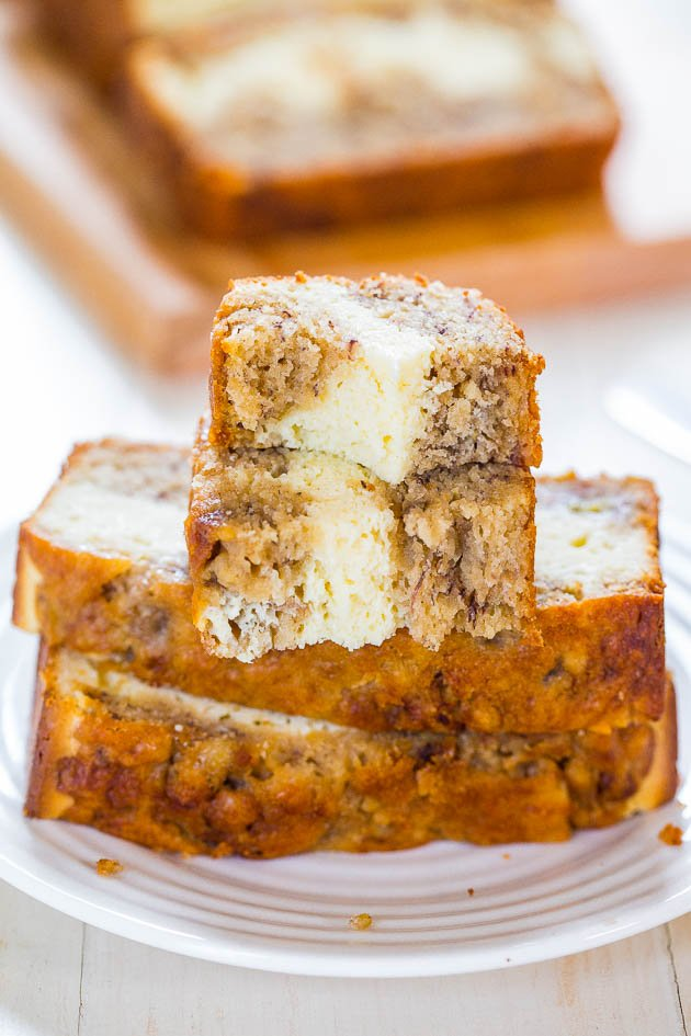 Cream Cheese Banana Bread slices on white plate