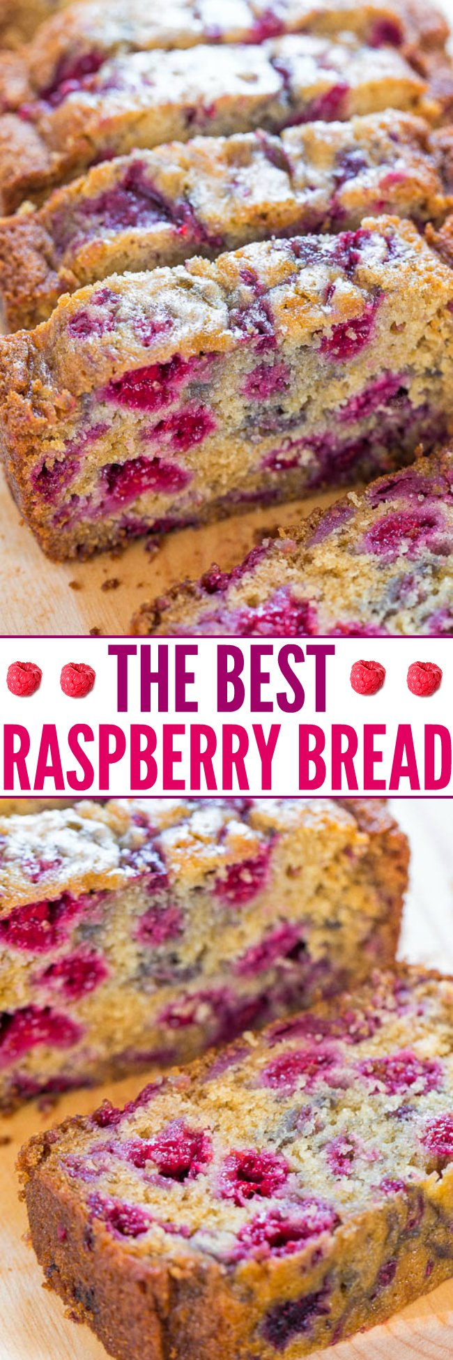 The Best Raspberry Bread - There's almost more raspberries than bread in my recipe for the BEST RASPBERRY BREAD!! You'll want to make it over and over because it's super soft and just bursting with juicy berries!!