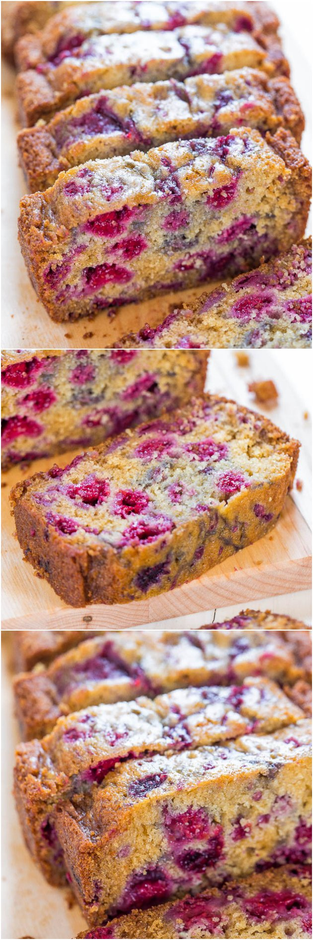 The Best Raspberry Bread - There's almost more raspberries than bread! Super soft and just bursting with juicy berries! So delishhhh!