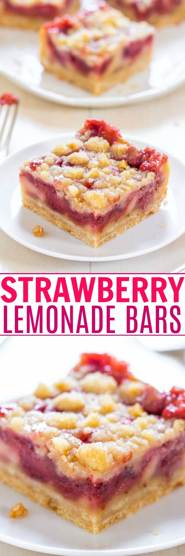 Lemon Strawberry Bars — Imagine crossing lemon bars with a strawberry pie. These easy bars taste like strawberry lemonade! Sooo good!
