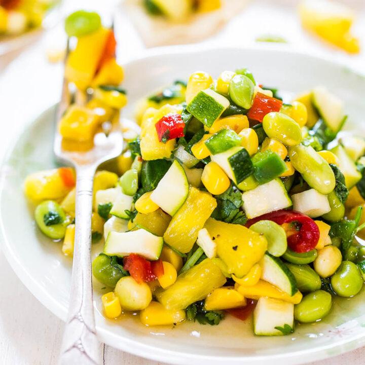 Sweet and Sour Zucchini Corn Salad (vegan, GF)