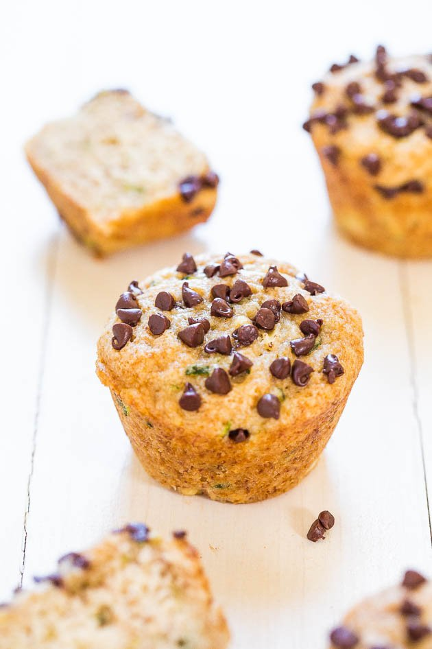 Banana Zucchini Chocolate Chip Muffins (vegan) - You'll never complain about eating your vegetables again! Soft, healthy, so good!
