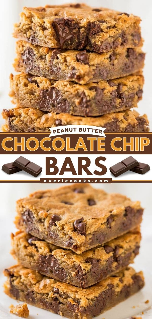 Peanut Butter Chocolate Chip Bars—These peanut butter chocolate bars are loaded with chocolate chips and creamy peanut butter. This is a one-bowl dessert you're bound to love!