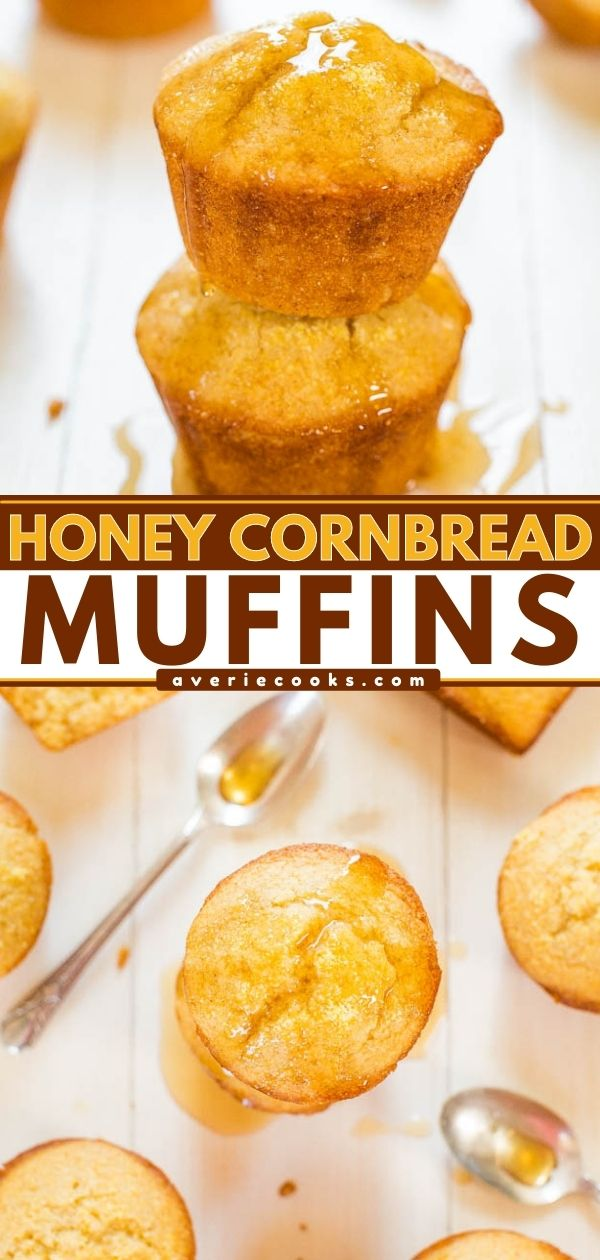 Honey Cornbread Muffins— Between the sour cream, coconut oil, and butter in the batter, it's impossible to wind up with dry honey cornbread muffins! Serve these at Thanksgiving, or alongside your favorite soups, chilis, and stews.