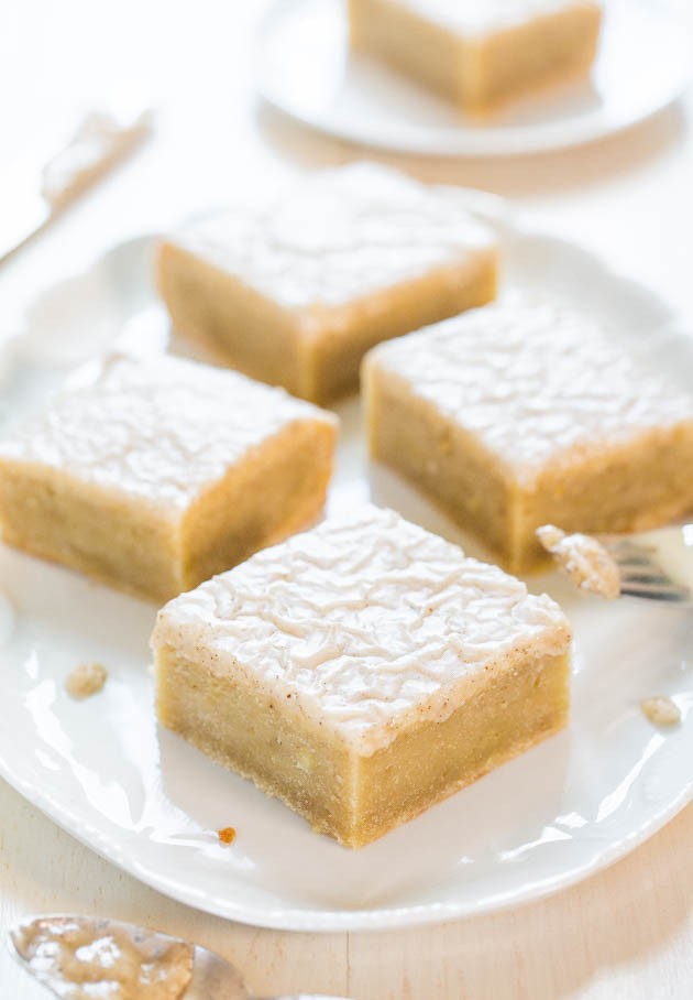 banana bars on white platter